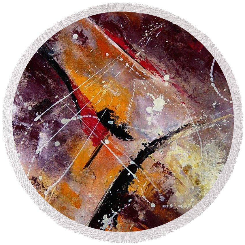 Abstract Round Beach Towel featuring the painting Abstract 45 by Pol Ledent