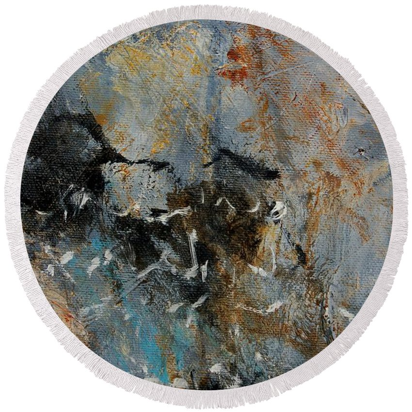 Abstract Round Beach Towel featuring the painting Abstract 4526987 by Pol Ledent