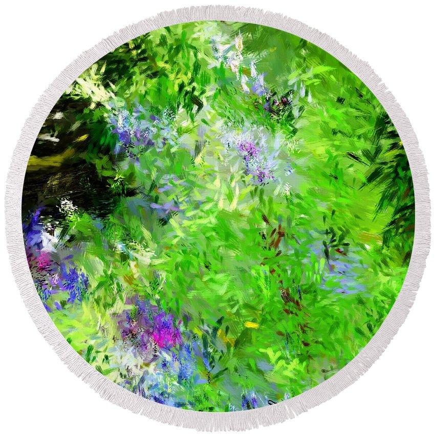 Abstract Round Beach Towel featuring the digital art Abstract 5-26-09 by David Lane