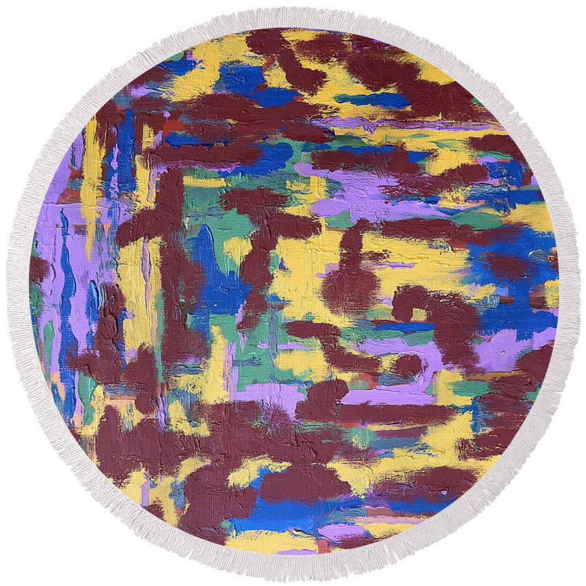 Abstract Round Beach Towel featuring the painting Abstract 50 by Patrick J Murphy