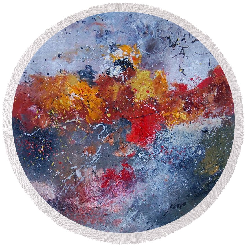 Abstract Round Beach Towel featuring the painting Abstract 55902110 by Pol Ledent
