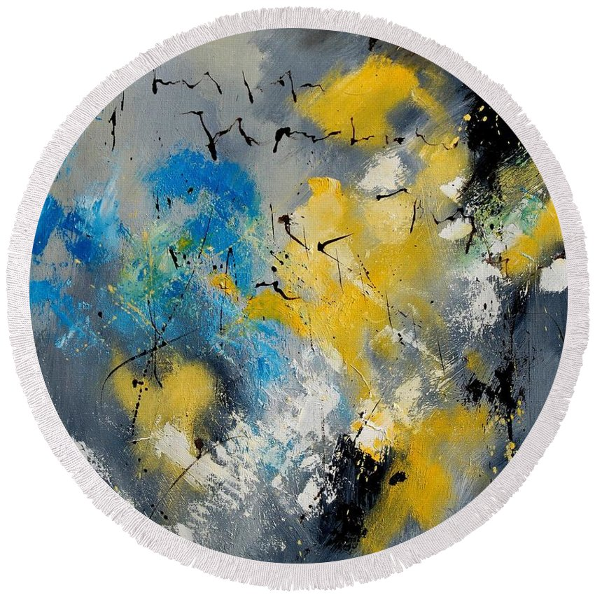Abstract Round Beach Towel featuring the painting Abstract 569070 by Pol Ledent