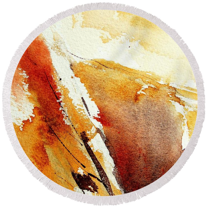 Abstract Round Beach Towel featuring the painting Abstract 5869 by Pol Ledent