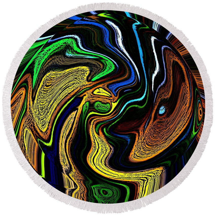 Abstract Round Beach Towel featuring the digital art Abstract 6-10-09-a by David Lane