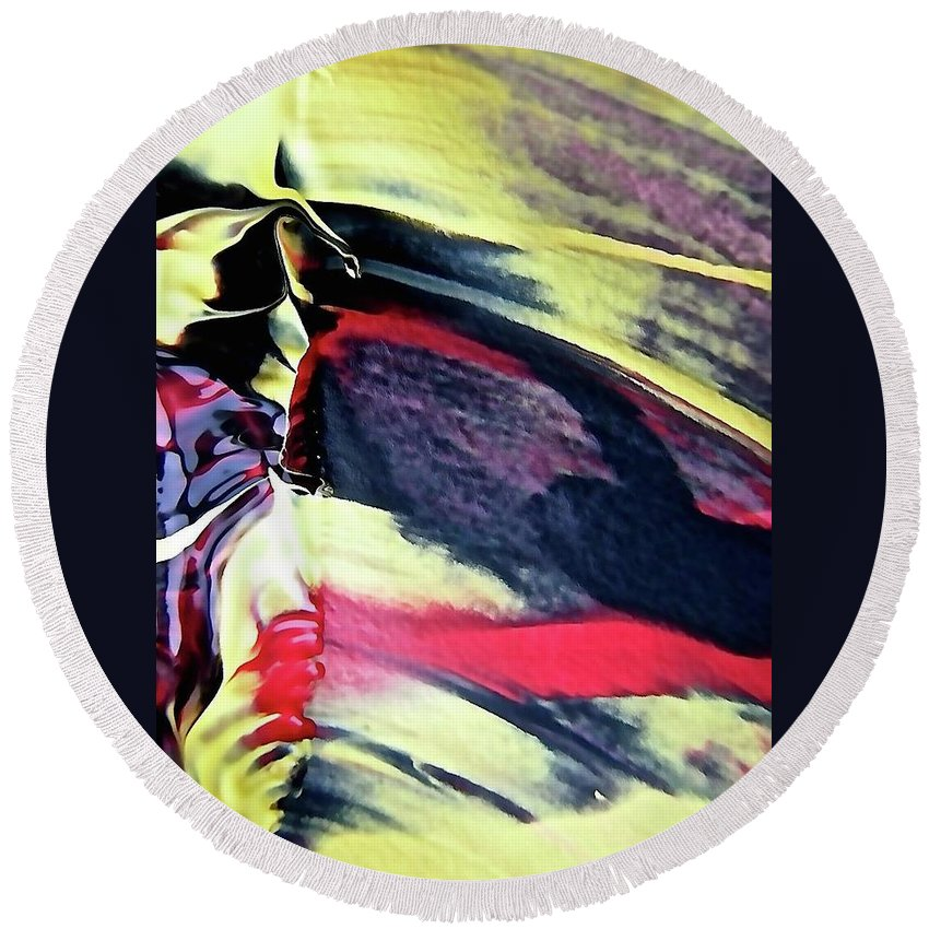 Yellow Round Beach Towel featuring the painting Abstract 6738 by Stephanie Moore