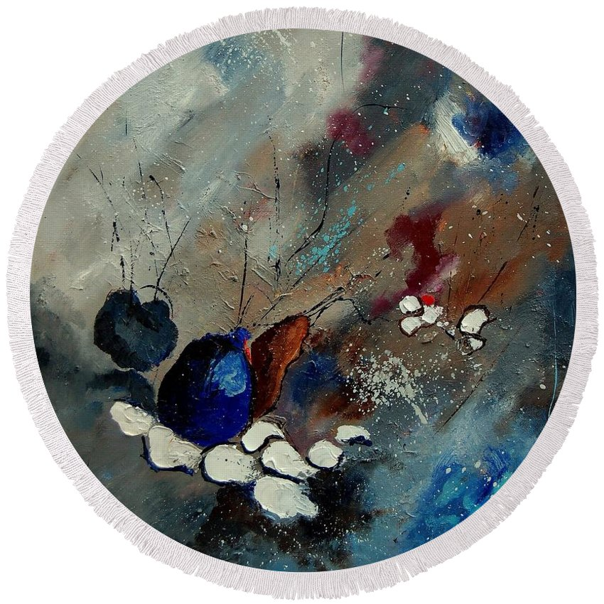 Abstract Round Beach Towel featuring the painting Abstract 67909010 by Pol Ledent