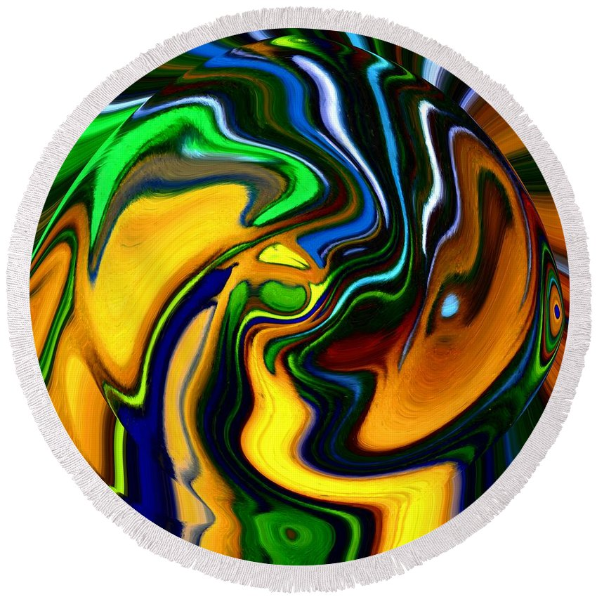 Abstract Round Beach Towel featuring the digital art Abstract 7-10-09 by David Lane