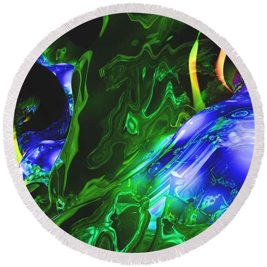 Abstract Round Beach Towel featuring the digital art Abstract 7-25-09-1 by David Lane
