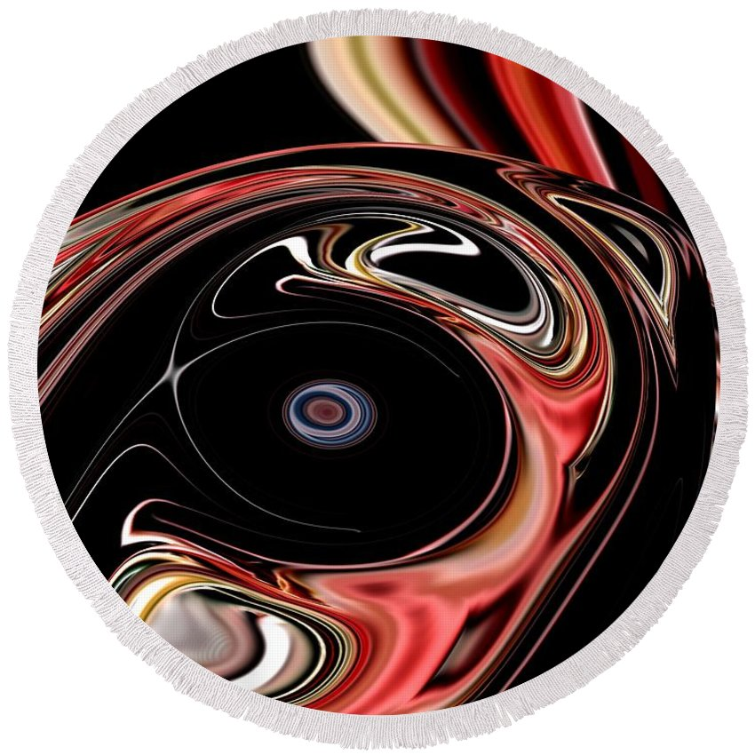 Abstract Round Beach Towel featuring the digital art Abstract 7-26-09-b by David Lane
