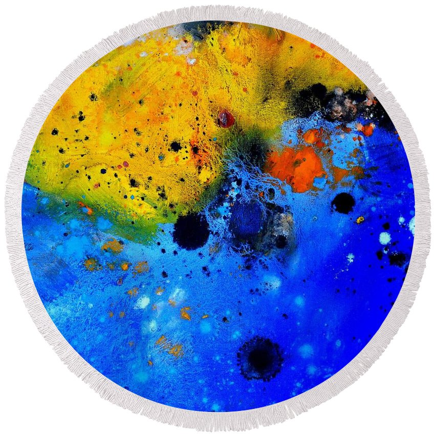 Abstract Round Beach Towel featuring the painting Abstract 767b by Pol Ledent