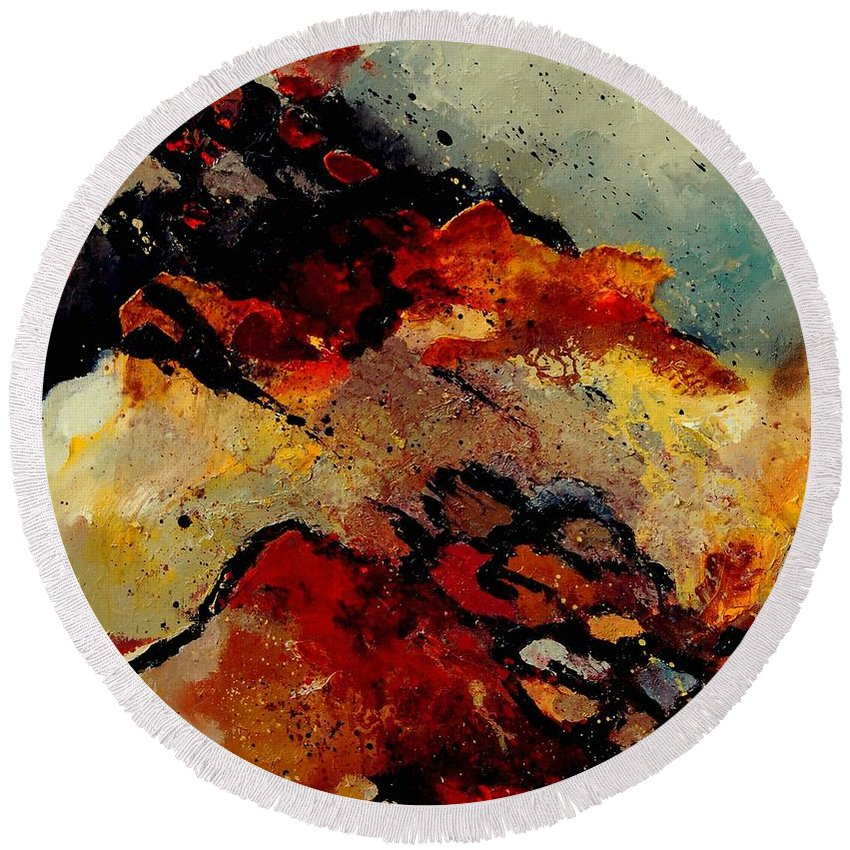 Abstract Round Beach Towel featuring the painting Abstract 780707 by Pol Ledent