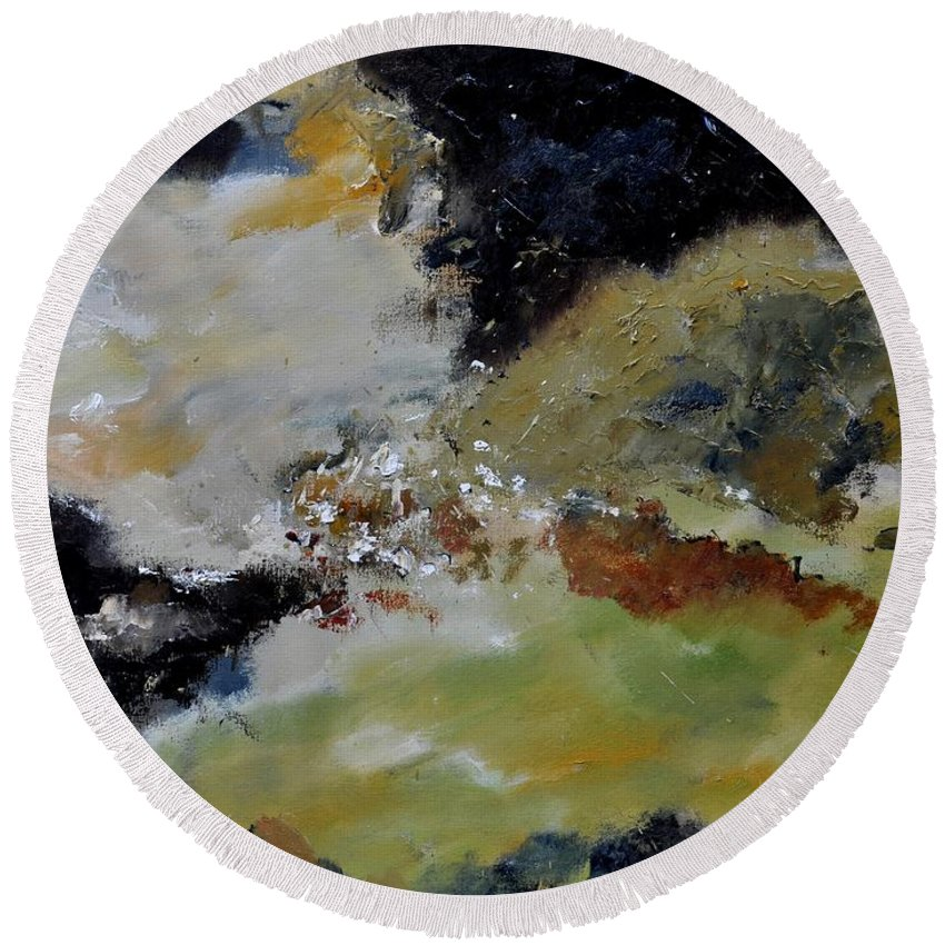Abstract Round Beach Towel featuring the painting Abstract 790180 by Pol Ledent