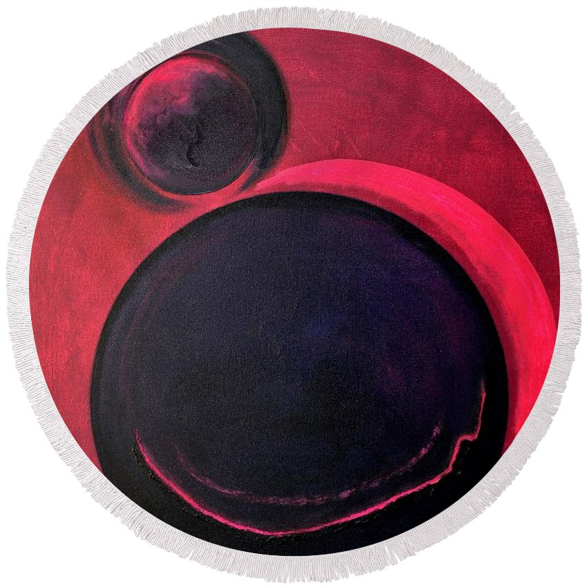 Round Beach Towel featuring the painting Abstract 8 by Veronique radelet