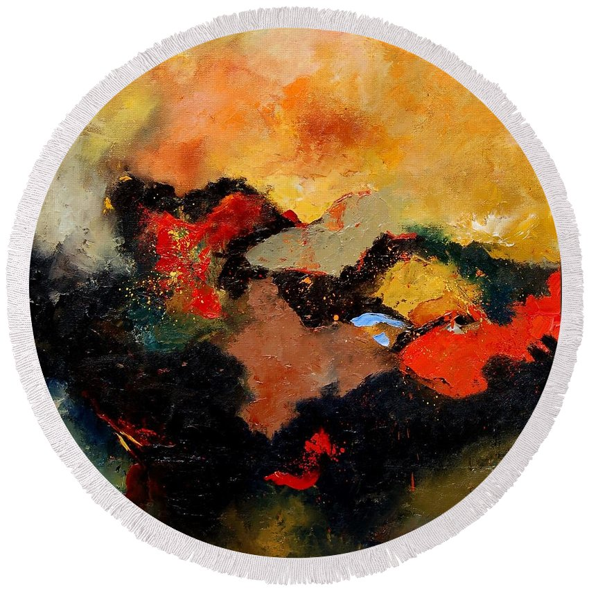 Abstract Round Beach Towel featuring the painting Abstract 8080 by Pol Ledent