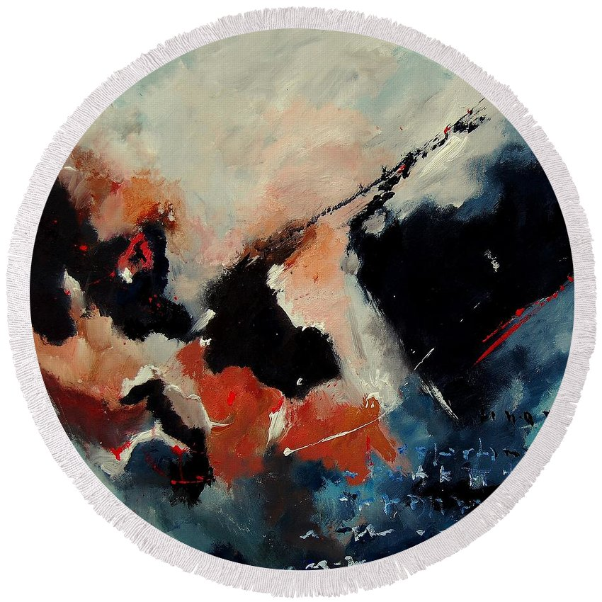 Abstract Round Beach Towel featuring the painting Abstract 88012090 by Pol Ledent