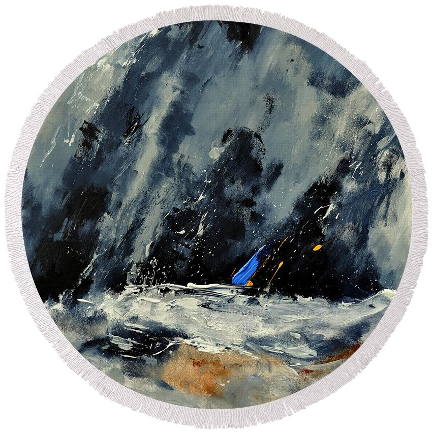 Abstract Round Beach Towel featuring the painting Abstract 88114080 by Pol Ledent