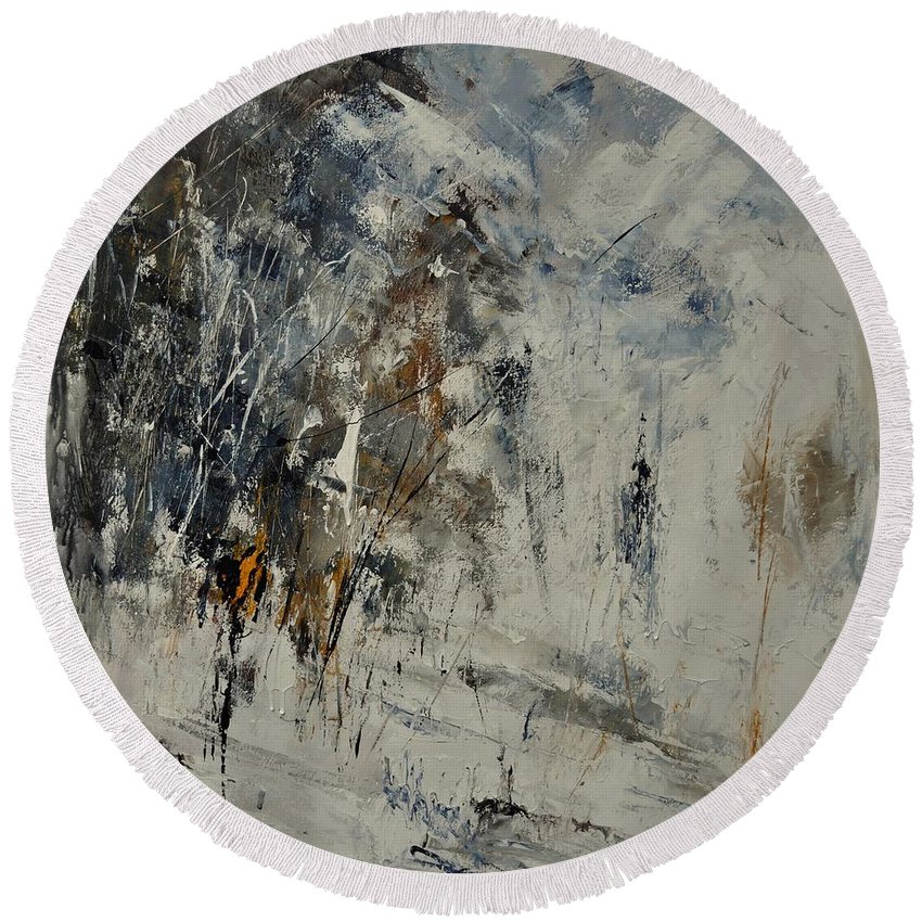 Abstract Round Beach Towel featuring the painting Abstract 8821207 by Pol Ledent