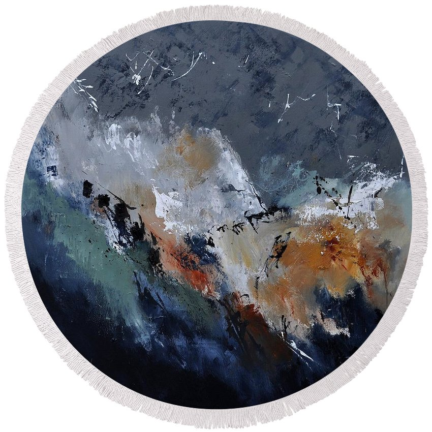 Abstract Round Beach Towel featuring the painting Abstract 8821901 by Pol Ledent