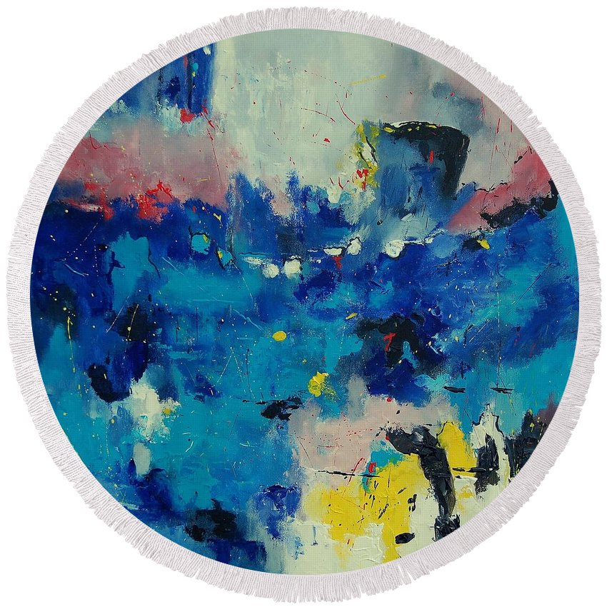 Abstract Round Beach Towel featuring the painting Abstract 889011 by Pol Ledent