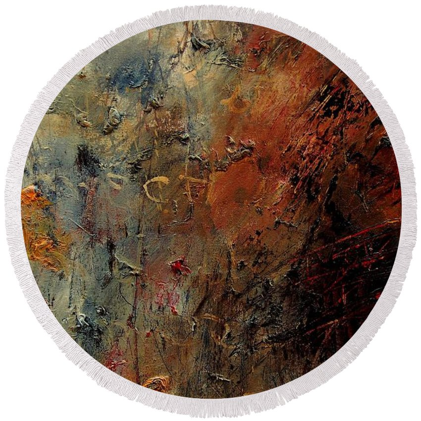 Abstract Round Beach Towel featuring the painting Abstract 900192 by Pol Ledent