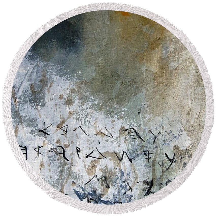 Abstract Round Beach Towel featuring the painting Abstract 904023 by Pol Ledent