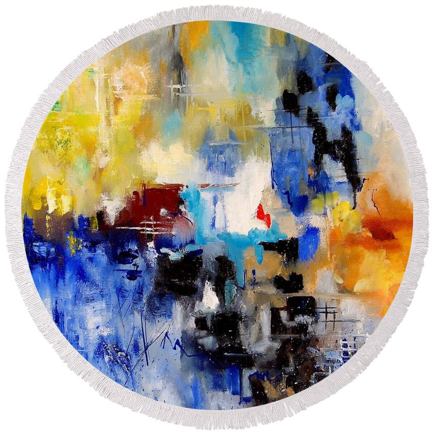 Abstract Round Beach Towel featuring the painting Abstract 905003 by Pol Ledent