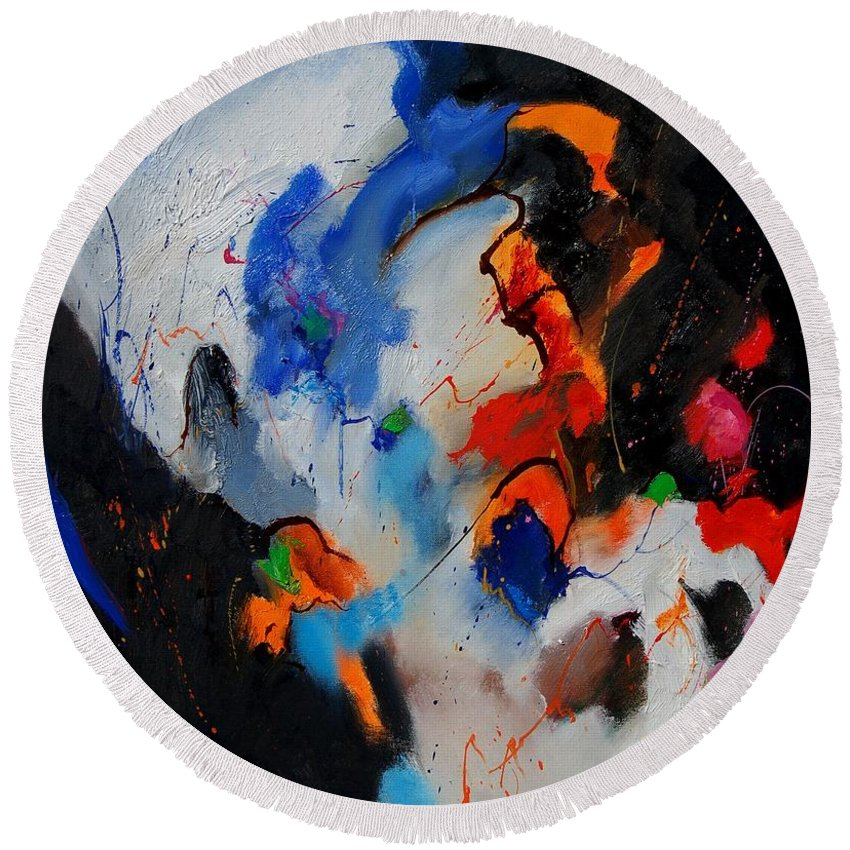 Abstract Round Beach Towel featuring the painting Abstract 905060 by Pol Ledent