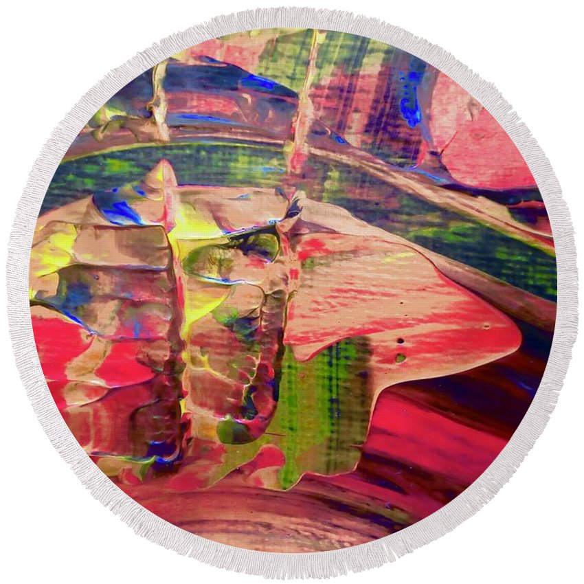 Red Round Beach Towel featuring the painting Abstract 9096 by Stephanie Moore