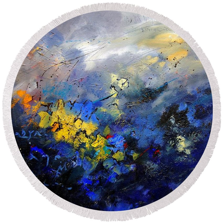 Abstract Round Beach Towel featuring the painting Abstract 970208 by Pol Ledent