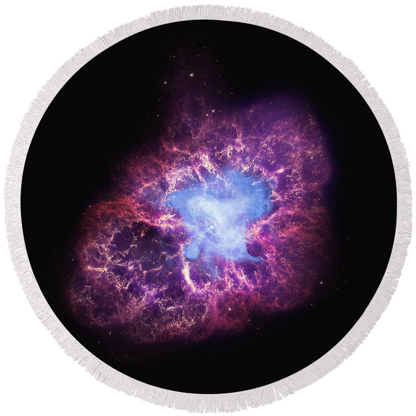 Nasa Round Beach Towel featuring the photograph Abstract Heavenly Art - The Crab Nebula by Nasa