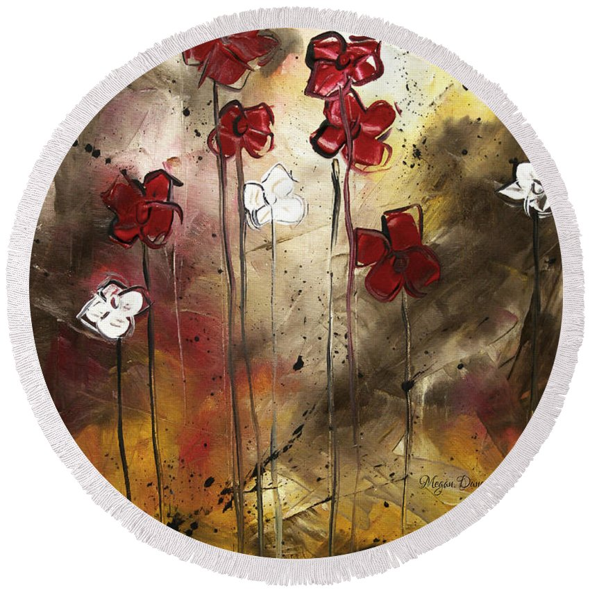 Abstract Round Beach Towel featuring the painting Abstract Art Original Flower Painting Floral Arrangement By Madart by Megan Duncanson