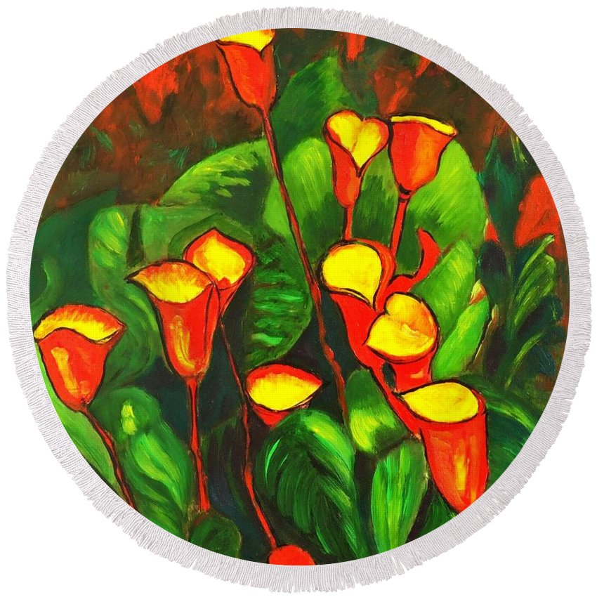 Arum Lily Round Beach Towel featuring the painting Abstract Arum Lilies by Caroline Street