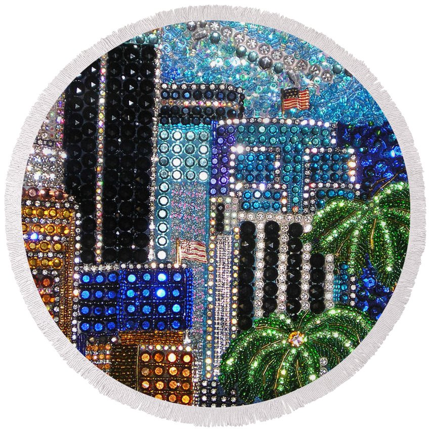 Los Angeles Round Beach Towel featuring the painting Los Angeles. Rhinestone Mosaic With Beadwork by Sofia Metal Queen