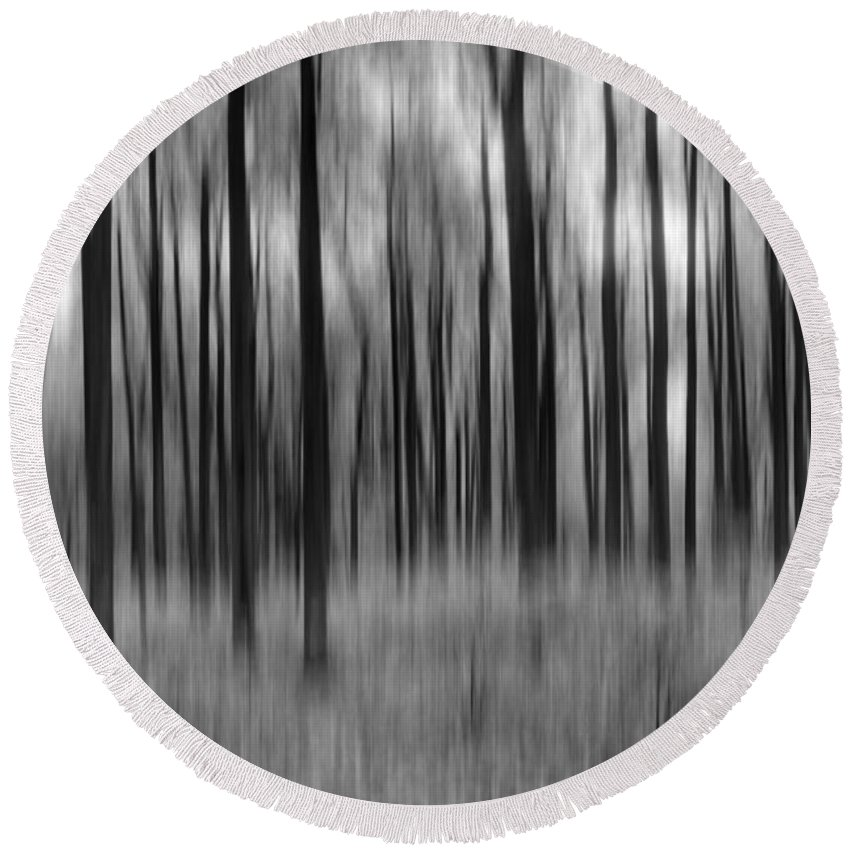Abstract Autumn Round Beach Towel featuring the photograph Abstract Autumn Bw by Michael Ver Sprill