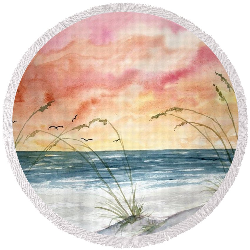 Abstract Round Beach Towel featuring the painting Abstract Beach Painting by Derek Mccrea