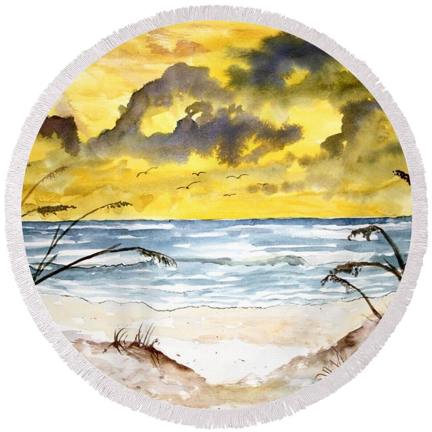Beach Round Beach Towel featuring the painting Abstract Beach Sand Dunes by Derek Mccrea