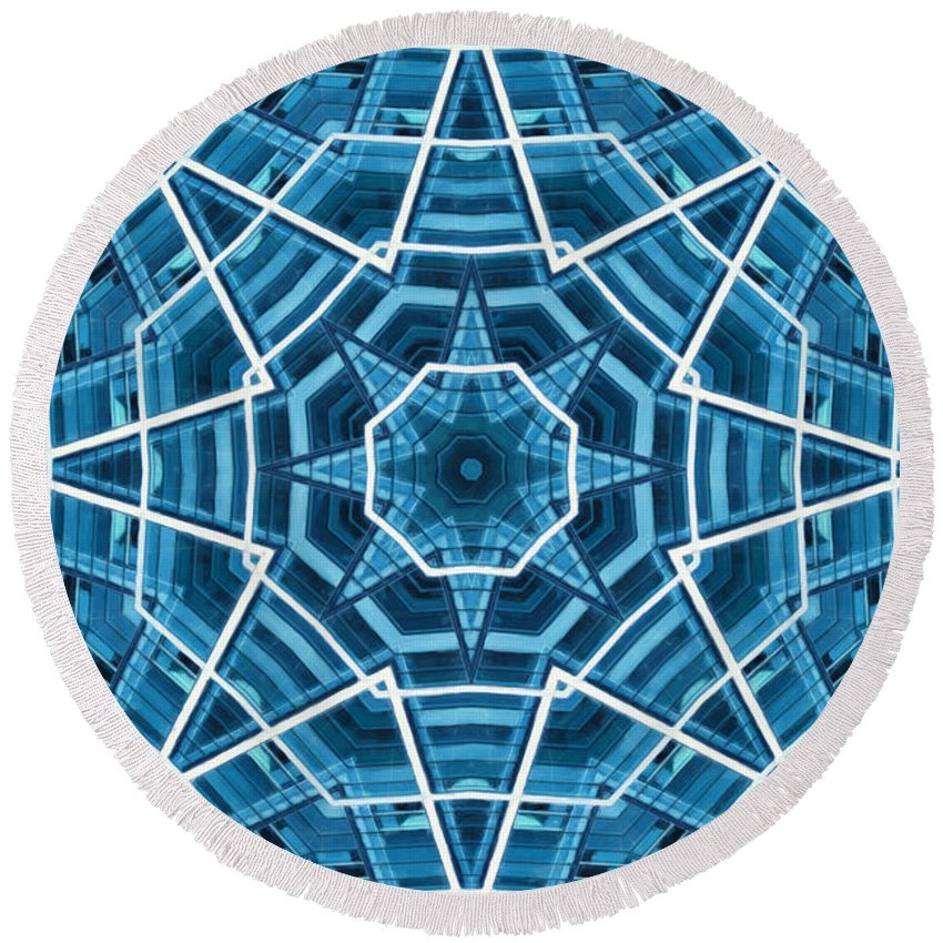 Abstract Round Beach Towel featuring the digital art Abstract Blue 19 by David Wagner