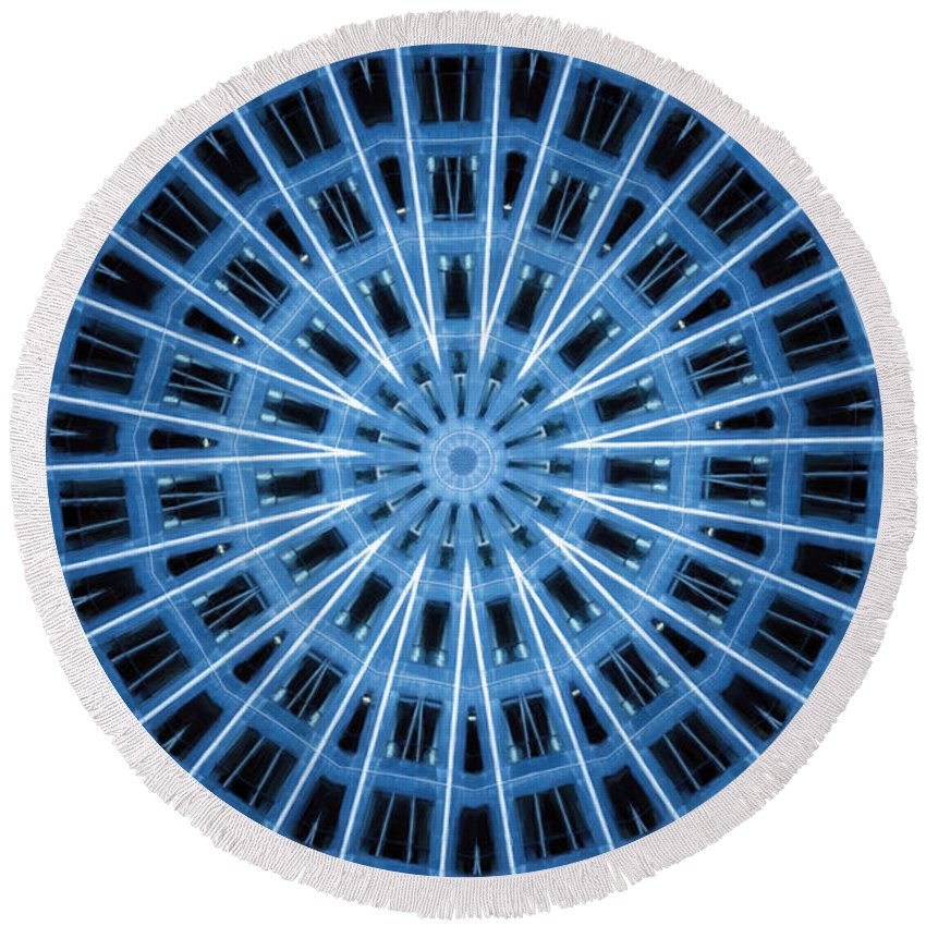 Abstract Round Beach Towel featuring the digital art Abstract Blue 28 by David Wagner