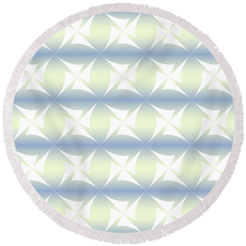 Concept Round Beach Towel featuring the digital art Abstract Blue And White Background by Lenka Ondrasova