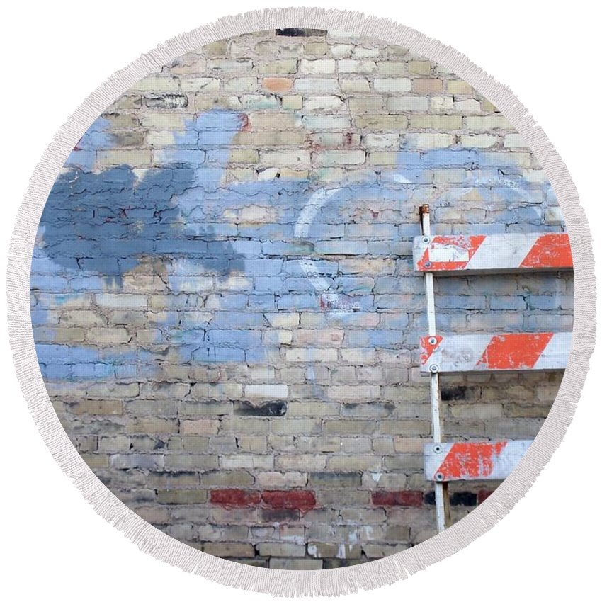 Industrial Round Beach Towel featuring the photograph Abstract Brick 2 by Anita Burgermeister