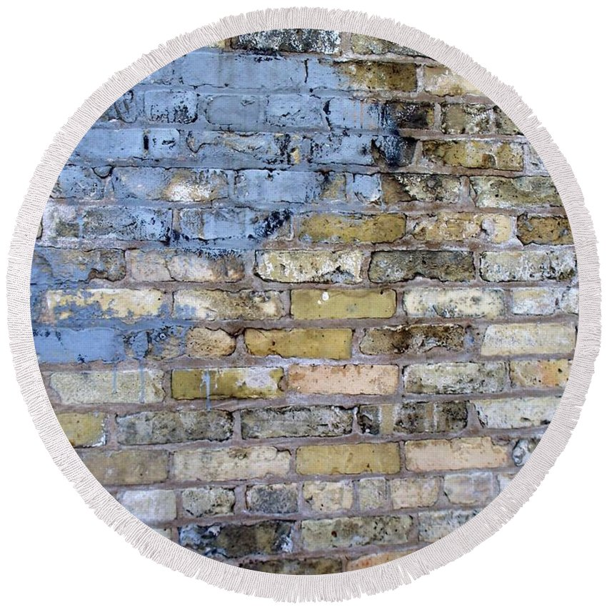 Industrial Round Beach Towel featuring the photograph Abstract Brick 6 by Anita Burgermeister