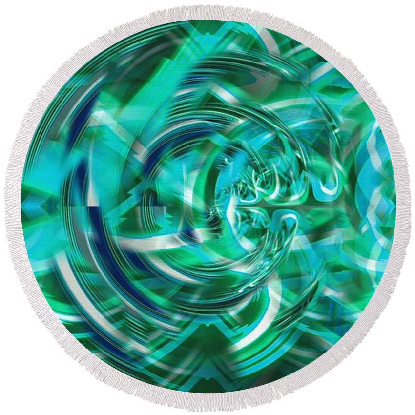 Abstract Round Beach Towel featuring the digital art Abstract Brutality The Vortex by Marco De Mooy