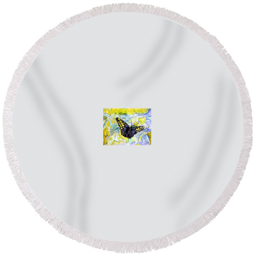 Abstract Round Beach Towel featuring the painting Abstract Butterfly by Derek Mccrea