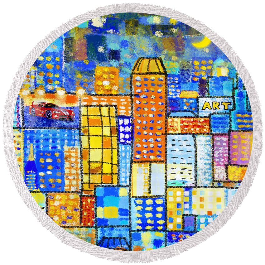 Abstract Round Beach Towel featuring the painting Abstract City by Setsiri Silapasuwanchai