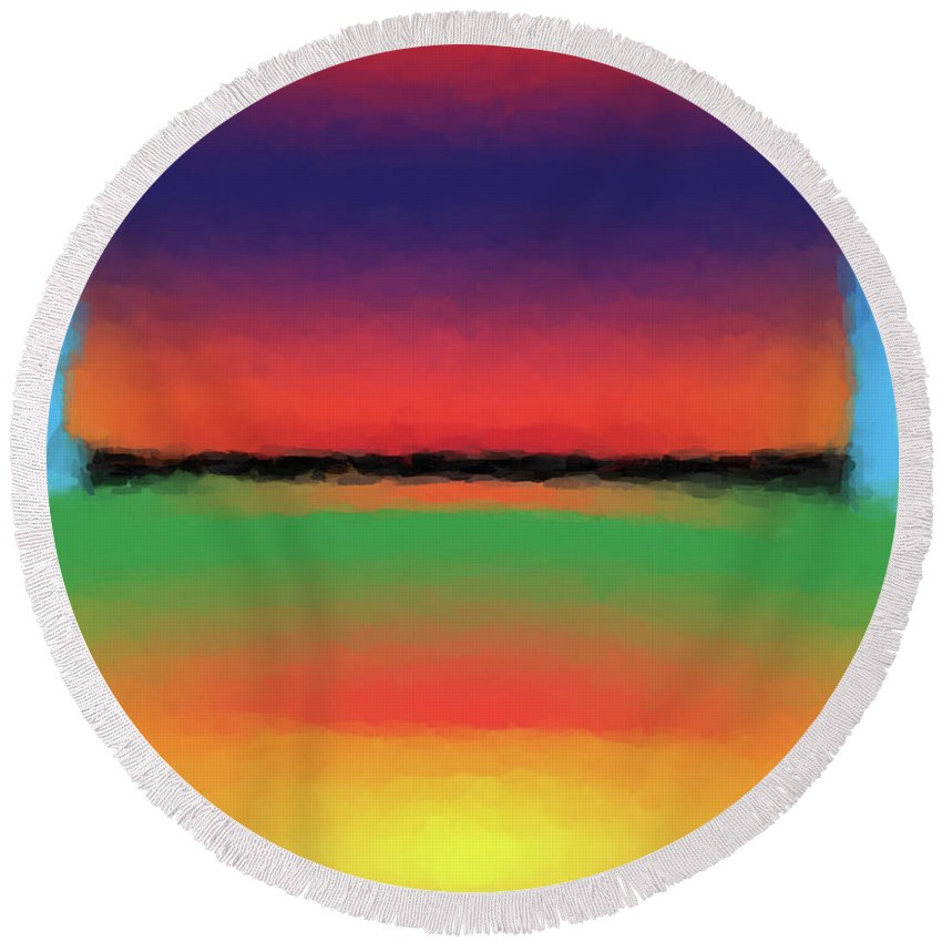 Abstract Round Beach Towel featuring the digital art Abstract Color Blends by Gary Grayson