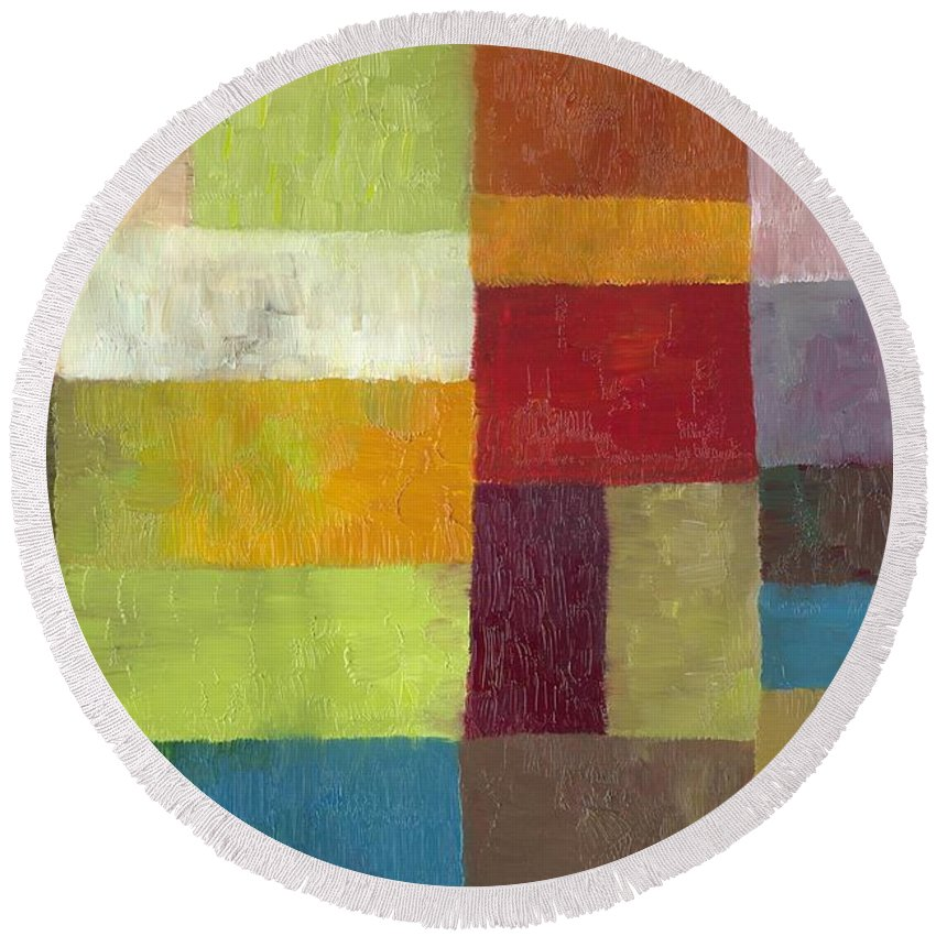 Abstract Round Beach Towel featuring the painting Abstract Color Study Lv by Michelle Calkins
