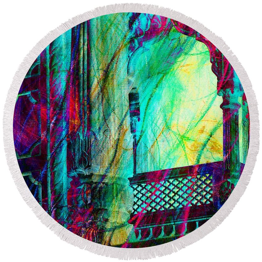 Abstract Round Beach Towel featuring the photograph Abstract Colorful Window Balcony Exotic Travel India Rajasthan 1a by Sue Jacobi