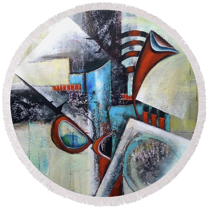 Abstract Round Beach Towel featuring the painting Abstract Composition by Florentina Maria Popescu