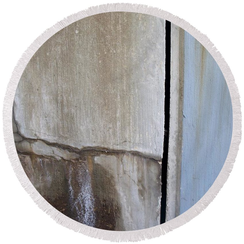 Industrial. Urban Round Beach Towel featuring the photograph Abstract Concrete 1 by Anita Burgermeister