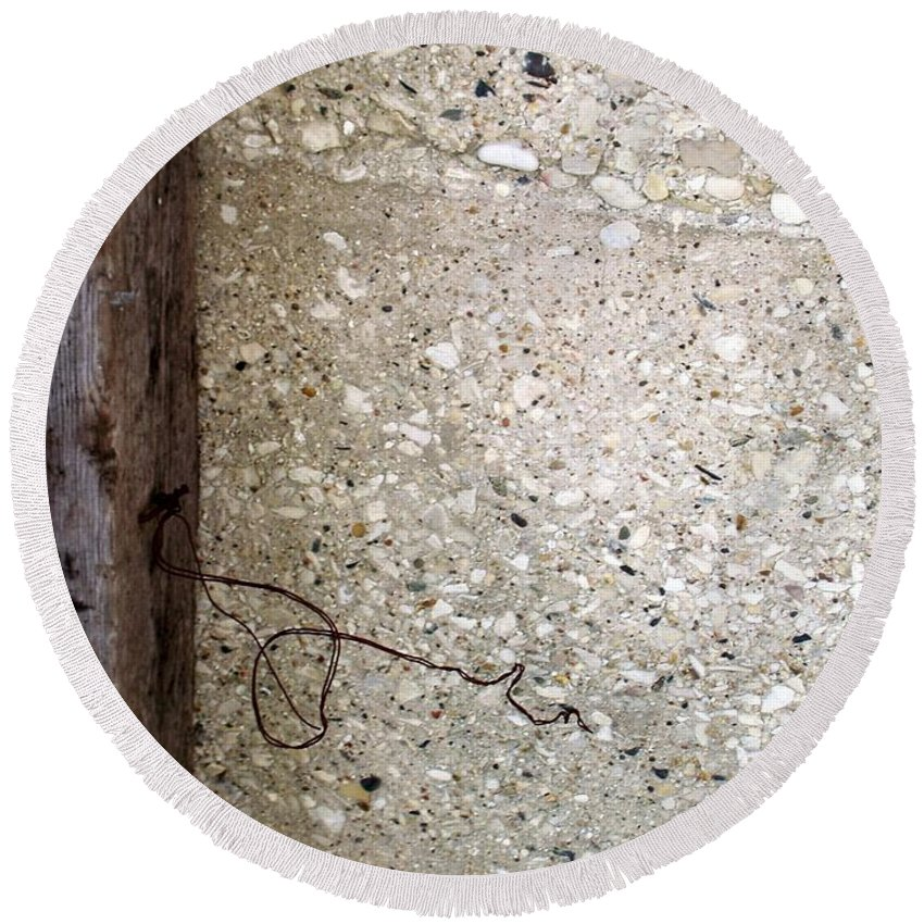 Industrial. Urban Round Beach Towel featuring the photograph Abstract Concrete 12 by Anita Burgermeister